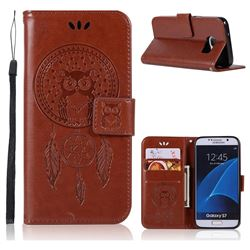 Intricate Embossing Owl Campanula Leather Wallet Case for Samsung Galaxy S7 G930 - Brown