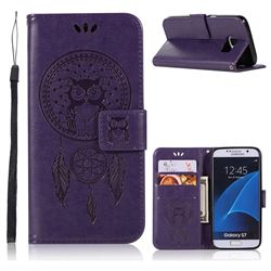 Intricate Embossing Owl Campanula Leather Wallet Case for Samsung Galaxy S7 G930 - Purple