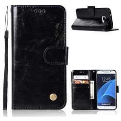 Luxury Retro Leather Wallet Case for Samsung Galaxy S7 G930 - Black