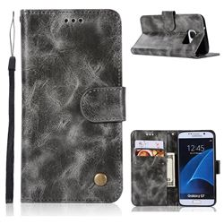 Luxury Retro Leather Wallet Case for Samsung Galaxy S7 G930 - Gray