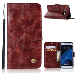 Luxury Retro Leather Wallet Case for Samsung Galaxy S7 G930 - Wine Red