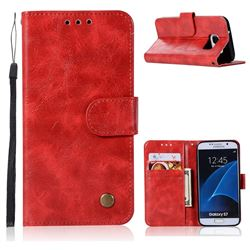 Luxury Retro Leather Wallet Case for Samsung Galaxy S7 G930 - Red