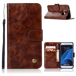Luxury Retro Leather Wallet Case for Samsung Galaxy S7 G930 - Brown