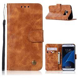 Luxury Retro Leather Wallet Case for Samsung Galaxy S7 G930 - Golden