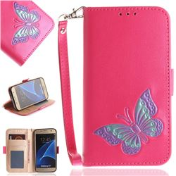 Imprint Embossing Butterfly Leather Wallet Case for Samsung Galaxy S7 G930 - Rose Red