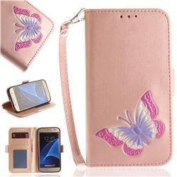 Imprint Embossing Butterfly Leather Wallet Case for Samsung Galaxy S7 G930 - Rose Gold