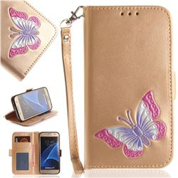 Imprint Embossing Butterfly Leather Wallet Case for Samsung Galaxy S7 G930 - Golden