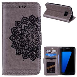 Datura Flowers Flash Powder Leather Wallet Holster Case for Samsung Galaxy S7 G930 - Gray