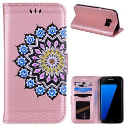 Datura Flowers Flash Powder Leather Wallet Holster Case for Samsung Galaxy S7 G930 - Pink