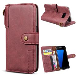 Retro Luxury Cowhide Leather Wallet Case for Samsung Galaxy S7 G930 - Wine Red