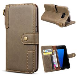 Retro Luxury Cowhide Leather Wallet Case for Samsung Galaxy S7 G930 - Coffee