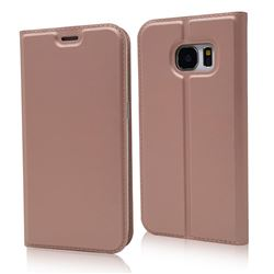 Ultra Slim Card Magnetic Automatic Suction Leather Wallet Case for Samsung Galaxy S7 G930 - Rose Gold