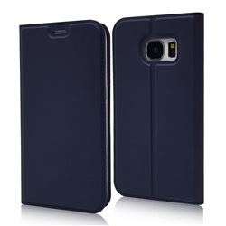 Ultra Slim Card Magnetic Automatic Suction Leather Wallet Case for Samsung Galaxy S7 G930 - Royal Blue