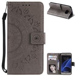 Intricate Embossing Datura Leather Wallet Case for Samsung Galaxy S7 G930 - Gray