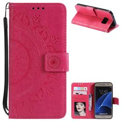 Intricate Embossing Datura Leather Wallet Case for Samsung Galaxy S7 G930 - Rose Red