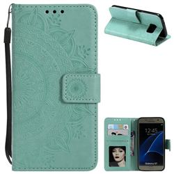 Intricate Embossing Datura Leather Wallet Case for Samsung Galaxy S7 G930 - Mint Green