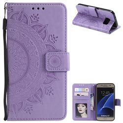 Intricate Embossing Datura Leather Wallet Case for Samsung Galaxy S7 G930 - Purple