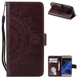 Intricate Embossing Datura Leather Wallet Case for Samsung Galaxy S7 G930 - Brown