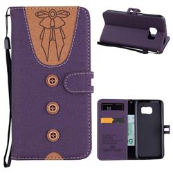 Ladies Bow Clothes Pattern Leather Wallet Phone Case for Samsung Galaxy S7 G930 - Purple