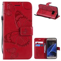 Embossing 3D Butterfly Leather Wallet Case for Samsung Galaxy S7 G930 - Red
