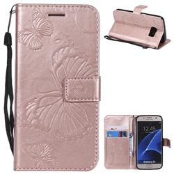 Embossing 3D Butterfly Leather Wallet Case for Samsung Galaxy S7 G930 - Rose Gold
