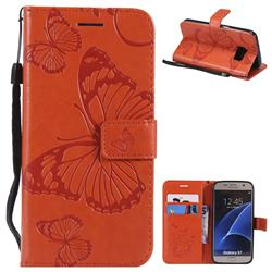 Embossing 3D Butterfly Leather Wallet Case for Samsung Galaxy S7 G930 - Orange