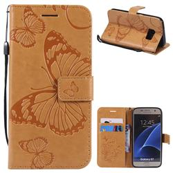 Embossing 3D Butterfly Leather Wallet Case for Samsung Galaxy S7 G930 - Yellow