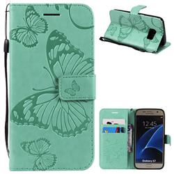 Embossing 3D Butterfly Leather Wallet Case for Samsung Galaxy S7 G930 - Green