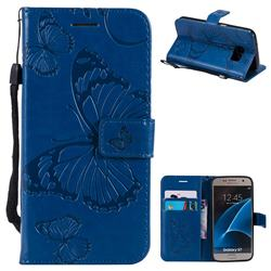 Embossing 3D Butterfly Leather Wallet Case for Samsung Galaxy S7 G930 - Blue