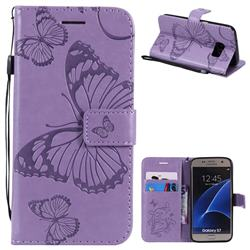 Embossing 3D Butterfly Leather Wallet Case for Samsung Galaxy S7 G930 - Purple