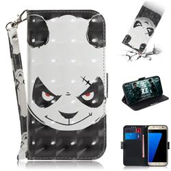 Angry Bear 3D Painted Leather Wallet Phone Case for Samsung Galaxy S7 G930