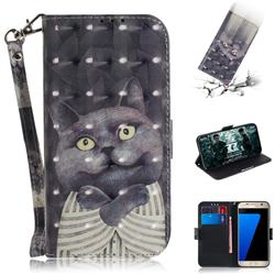 Cat Embrace 3D Painted Leather Wallet Phone Case for Samsung Galaxy S7 G930