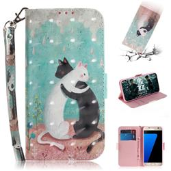 Black and White Cat 3D Painted Leather Wallet Phone Case for Samsung Galaxy S7 G930