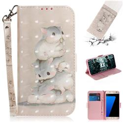 Three Squirrels 3D Painted Leather Wallet Phone Case for Samsung Galaxy S7 G930