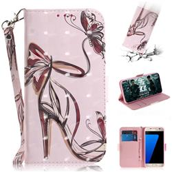 Butterfly High Heels 3D Painted Leather Wallet Phone Case for Samsung Galaxy S7 G930