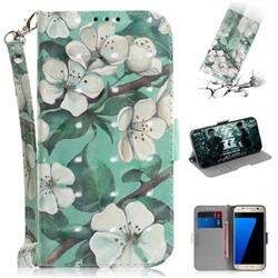 Watercolor Flower 3D Painted Leather Wallet Phone Case for Samsung Galaxy S7 G930