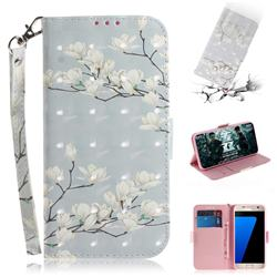 Magnolia Flower 3D Painted Leather Wallet Phone Case for Samsung Galaxy S7 G930
