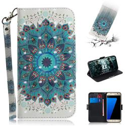 Peacock Mandala 3D Painted Leather Wallet Phone Case for Samsung Galaxy S7 G930