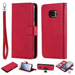 Retro Greek Detachable Magnetic PU Leather Wallet Phone Case for Samsung Galaxy S7 G930 - Red