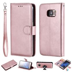 Retro Greek Detachable Magnetic PU Leather Wallet Phone Case for Samsung Galaxy S7 G930 - Rose Gold