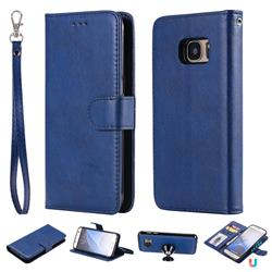 Retro Greek Detachable Magnetic PU Leather Wallet Phone Case for Samsung Galaxy S7 G930 - Blue