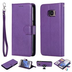 Retro Greek Detachable Magnetic PU Leather Wallet Phone Case for Samsung Galaxy S7 G930 - Purple