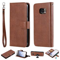 Retro Greek Detachable Magnetic PU Leather Wallet Phone Case for Samsung Galaxy S7 G930 - Brown