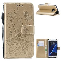 Intricate Embossing Butterfly Circle Leather Wallet Case for Samsung Galaxy S7 G930 - Champagne