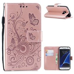 Intricate Embossing Butterfly Circle Leather Wallet Case for Samsung Galaxy S7 G930 - Rose Gold