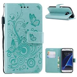 Intricate Embossing Butterfly Circle Leather Wallet Case for Samsung Galaxy S7 G930 - Cyan