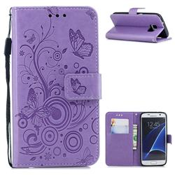 Intricate Embossing Butterfly Circle Leather Wallet Case for Samsung Galaxy S7 G930 - Purple