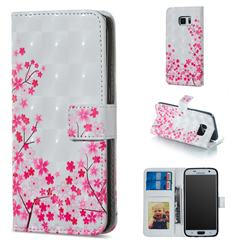 Cherry Blossom 3D Painted Leather Phone Wallet Case for Samsung Galaxy S7 G930