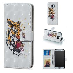 Toothed Tiger 3D Painted Leather Phone Wallet Case for Samsung Galaxy S7 G930