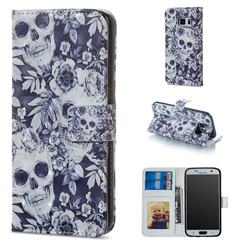 Skull Flower 3D Painted Leather Phone Wallet Case for Samsung Galaxy S7 G930